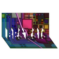 Jewel City, Radiant Rainbow Abstract Urban Best Sis 3d Greeting Card (8x4)  by DianeClancy