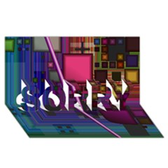 Jewel City, Radiant Rainbow Abstract Urban Sorry 3d Greeting Card (8x4)  by DianeClancy