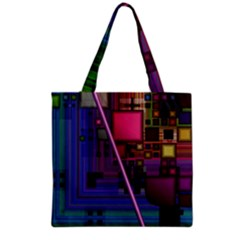 Jewel City, Radiant Rainbow Abstract Urban Grocery Tote Bag by DianeClancy