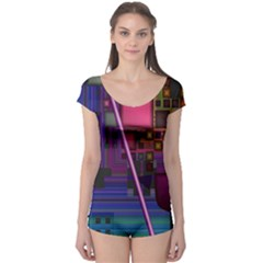 Jewel City, Radiant Rainbow Abstract Urban Boyleg Leotard (ladies) by DianeClancy