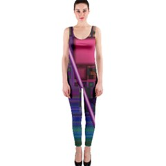 Jewel City, Radiant Rainbow Abstract Urban Onepiece Catsuit by DianeClancy