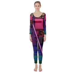 Jewel City, Radiant Rainbow Abstract Urban Long Sleeve Catsuit by DianeClancy