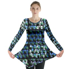 Looking Out At Night, Abstract Venture Adventure (venture Night Ii) Long Sleeve Tunic  by DianeClancy