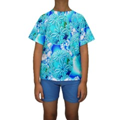 Blue Ice Crystals, Abstract Aqua Azure Cyan Kid s Short Sleeve Swimwear by DianeClancy