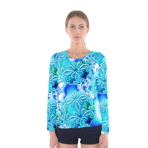 Blue Ice Crystals, Abstract Aqua Azure Cyan Women s Long Sleeve Tee by DianeClancy