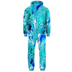 Blue Ice Crystals, Abstract Aqua Azure Cyan Hooded Jumpsuit (men)  by DianeClancy
