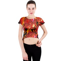 Flame Delights, Abstract Red Orange Crew Neck Crop Top by DianeClancy