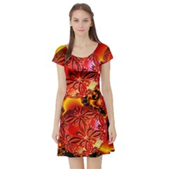 Flame Delights, Abstract Red Orange Short Sleeve Skater Dress by DianeClancy