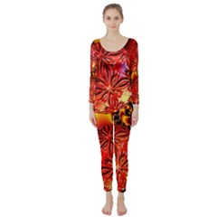 68d5174e62e Abstract Crimson Red Fire Fractal One Piece Jumpsuits