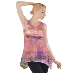 Glorious Skies, Abstract Pink And Yellow Dream Side Drop Tank Tunic by DianeClancy