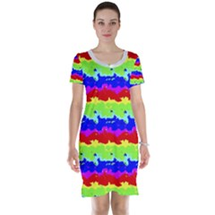 Colorful Abstract Collage Print Short Sleeve Nightdress by dflcprintsclothing