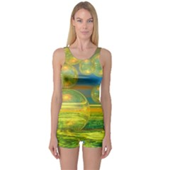 Golden Days, Abstract Yellow Azure Tranquility One Piece Boyleg Swimsuit by DianeClancy