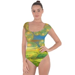 Golden Days, Abstract Yellow Azure Tranquility Short Sleeve Leotard (ladies) by DianeClancy