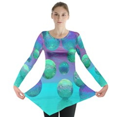 Ocean Dreams, Abstract Aqua Violet Ocean Fantasy Long Sleeve Tunic  by DianeClancy