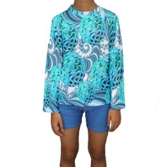 Teal Sea Forest, Abstract Underwater Ocean Kid s Long Sleeve Swimwear by DianeClancy