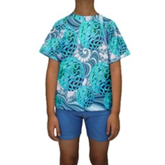 Teal Sea Forest, Abstract Underwater Ocean Kid s Short Sleeve Swimwear by DianeClancy