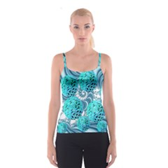Teal Sea Forest, Abstract Underwater Ocean Spaghetti Strap Top by DianeClancy