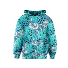 Teal Sea Forest, Abstract Underwater Ocean Kids  Pullover Hoodie by DianeClancy