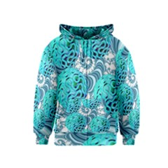 Teal Sea Forest, Abstract Underwater Ocean Kids  Zipper Hoodie by DianeClancy