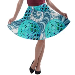 Teal Sea Forest, Abstract Underwater Ocean A Line Skater Skirt by DianeClancy