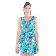 Teal Sea Forest, Abstract Underwater Ocean Scoop Neck Skater Dress by DianeClancy
