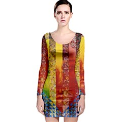 Conundrum I, Abstract Rainbow Woman Goddess  Long Sleeve Bodycon Dress by DianeClancy