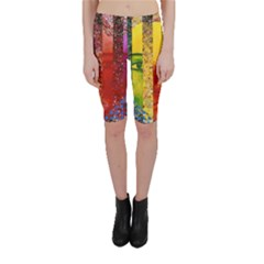 Conundrum I, Abstract Rainbow Woman Goddess  Cropped Leggings by DianeClancy