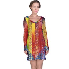 Conundrum I, Abstract Rainbow Woman Goddess  Long Sleeve Nightdress by DianeClancy