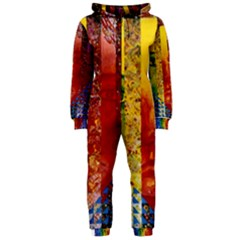 Conundrum I, Abstract Rainbow Woman Goddess  Hooded Jumpsuit (ladies)  by DianeClancy