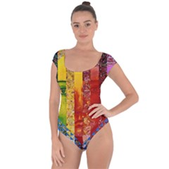 Conundrum I, Abstract Rainbow Woman Goddess  Short Sleeve Leotard (ladies) by DianeClancy