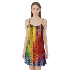 Conundrum I, Abstract Rainbow Woman Goddess  Satin Night Slip by DianeClancy