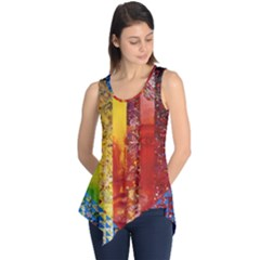 Conundrum I, Abstract Rainbow Woman Goddess  Sleeveless Tunic by DianeClancy