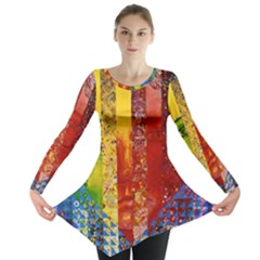 Conundrum I, Abstract Rainbow Woman Goddess  Long Sleeve Tunic  by DianeClancy