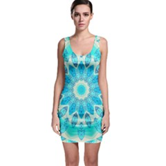 Blue Ice Goddess, Abstract Crystals Of Love Sleeveless Bodycon Dress