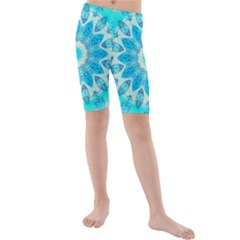 Blue Ice Goddess, Abstract Crystals Of Love Kid s Mid Length Swim Shorts