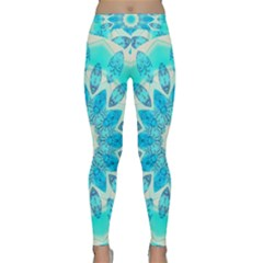 Blue Ice Goddess, Abstract Crystals Of Love Yoga Leggings