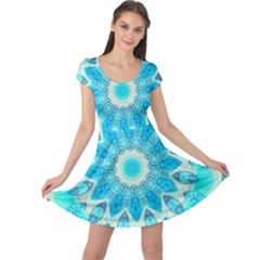 Blue Ice Goddess, Abstract Crystals Of Love Cap Sleeve Dresses