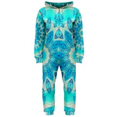 Blue Ice Goddess, Abstract Crystals Of Love Hooded Jumpsuit (ladies)  by DianeClancy