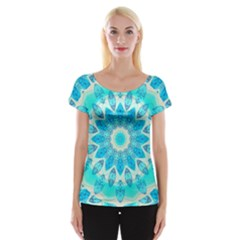 Blue Ice Goddess, Abstract Crystals Of Love Women s Cap Sleeve Top