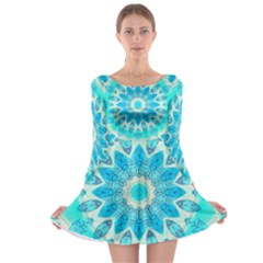 Blue Ice Goddess, Abstract Crystals Of Love Long Sleeve Skater Dress