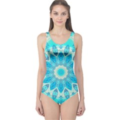 Blue Ice Goddess, Abstract Crystals Of Love One Piece Swimsuit by DianeClancy