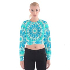 Blue Ice Goddess, Abstract Crystals Of Love Women s Cropped Sweatshirt by DianeClancy