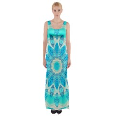 Blue Ice Goddess, Abstract Crystals Of Love Maxi Thigh Split Dress