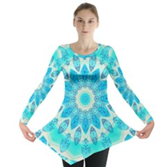 Blue Ice Goddess, Abstract Crystals Of Love Long Sleeve Tunic  by DianeClancy