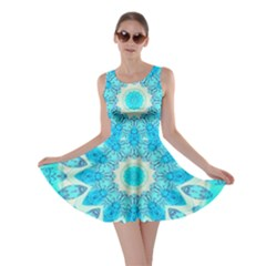 Blue Ice Goddess, Abstract Crystals Of Love Skater Dress