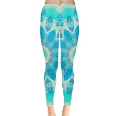 Blue Ice Goddess, Abstract Crystals Of Love Leggings