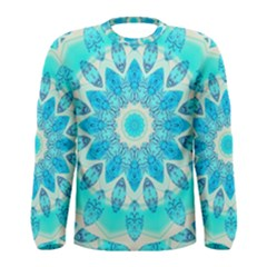Blue Ice Goddess, Abstract Crystals Of Love Men s Long Sleeve Tee