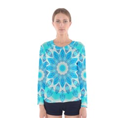 Blue Ice Goddess, Abstract Crystals Of Love Women s Long Sleeve Tee