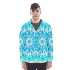 Blue Ice Goddess, Abstract Crystals Of Love Hooded Wind Breaker (men)