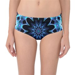 Crystal Star, Abstract Glowing Blue Mandala Mid-waist Bikini Bottoms by DianeClancy